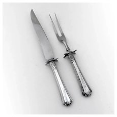 Georgian Colonial 2 Piece Carving Set Wallace Sterling Silver 1932