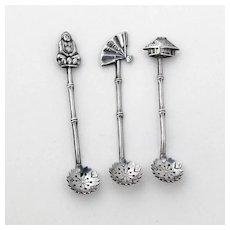 Japanese 3 Salt Spoons Set Figural Finials Sterling Silver