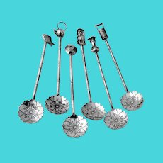 Japanese 6 Demitasse Spoons Set Figural Finials 950 Sterling Silver