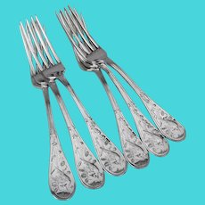 Tiffany Audubon 6 Dinner Forks Set Sterling Silver 1956