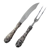 Stieff Rose 2 Piece Steak Carving Set Sterling Silver Stainless Steel
