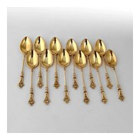 German 12 Demitasse Spoons Set Gilt 800 Silver Mono LSS