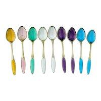Enamel Demitasse Spoons Set Frigast Gilt Sterling Silver Denmark