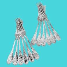 Tiffany Audubon 12 Dinner Forks Set Sterling Silver 1956
