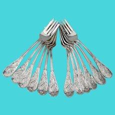 Tiffany Audubon 12 Salad Forks Set Sterling Silver 1956 No Mono