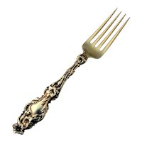 Lily Dinner Fork Whiting Gilt Sterling Silver 1902 No Mono