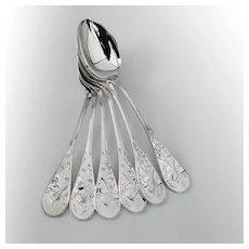 Tiffany Audubon 6 Tablespoons Set Sterling Silver 1956 No Mono