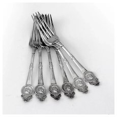 Gorham Medallion 6 Dinner Forks Set Sterling Silver Pat 1864