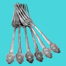 Gorham Medallion 6 Dinner Forks Set Sterling Silver Pat 1864
