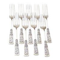 Fontainebleau 9 Forks Set Gorham Sterling Silver 1882 Mono Annabel