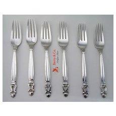 Acorn Sterling Silver Six Dinner Forks Georg Jensen 1945
