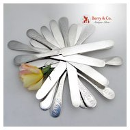 12 Flat Handle  Knives Ivy Polhemus 1870