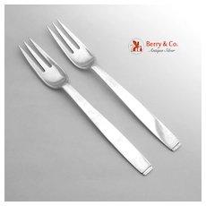 Porter Blanchard Oslo Dinner Forks Pair Hand Made 1940 Sterling Silver