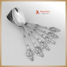 Medallion 6 Table Spoons Coin Silver Schulz and Fischer 1870