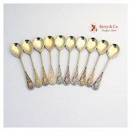 Ornate 10 Demitasse Spoons 800 Silver Gilt 1890