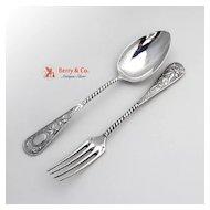Ornate Dessert Spoon and Fork German 800 Silver 1890