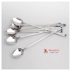 Navajo Iced Teaspoons 8 Sterling Silver Turquoise 1920