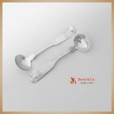 Fiddle Tipt Salt Spoons Pair Jones Lows Ball Boston Coin Silver 1839 MLF