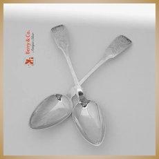 Coin Silver Pair Dessert Spoons Erastus Barton and Co 1815 New York