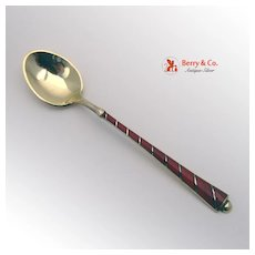 Sterling Silver Gilt Red Enamel Demitasse Spoon Ela Denmark