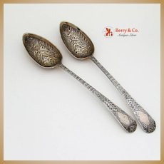 Newcastle Bright Cut Tablespoons 2 Sterling Silver 1799