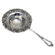 Tea Strainer Floral Baroque Crystal Frank Smith 1895 Sterling Silver