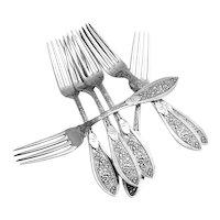Montezuma Regular Forks 7 Pieces Sterling Silver  Shiebler 1879