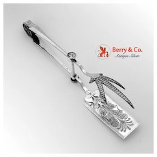 Medallion Chicken Tongs Sterling Silver Gorham 1864