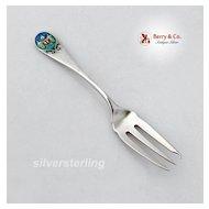 Shiebler Pickle Fork Enamel Albany Seal Sterling Silver 1890