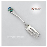 Shiebler Pickle Fork Enamel Albany Seal Sterling Silver 1890