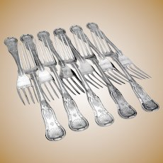 King`s Set of 11 Dinner Forks Coin Silver Bailey 1870