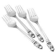 Set of 4 Georg Jensen Acorn Salad Forks Sterling Silver 1915