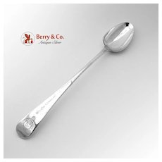Antique English Fiddle Stuffing Spoon Sterling Silver 18th Century