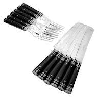 Antique American Cutlery Set Wood Polished Steel 12 Pieces Knickerbocker Mfg Co 1910