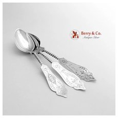 Antique Twist Handle Teaspoons Sterling Silver 3 Pieces Dhume Co 1883