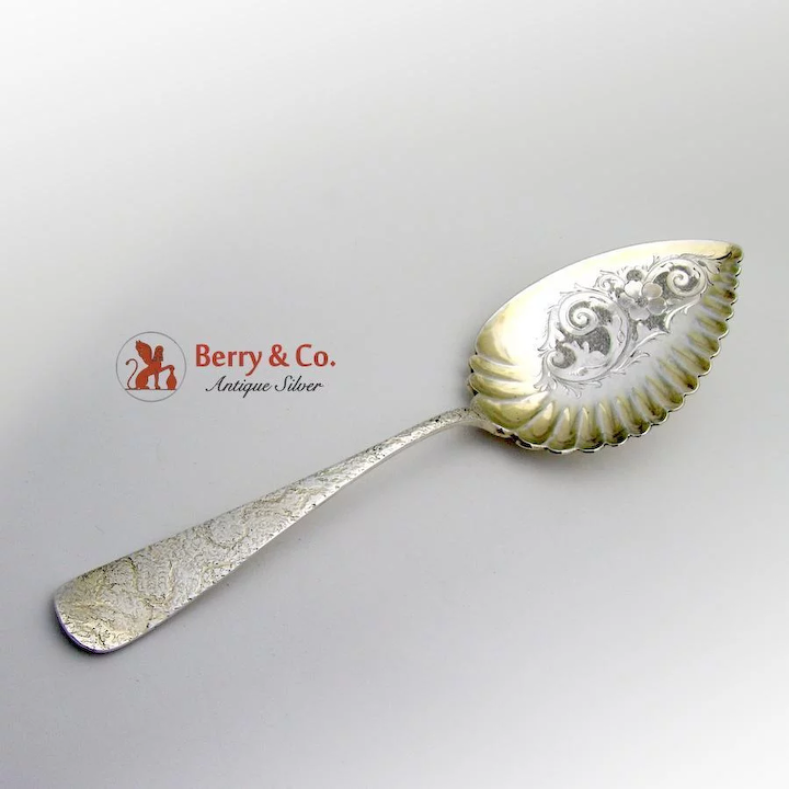 Unusual Ribbed Serving Spoon Sterling Silver 1890 Berry Company Flatware Ruby Lane