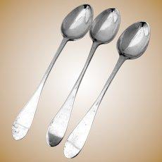 Antique Iced Tea Spoons Coin Silver 3 Pieces AR 18Th Century
