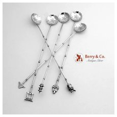 Figural Bamboo Iced Tea Spoons Japanese 950 Sterling Silver 5 Pieces 1960