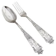 Danish Souvenir Set of a Fork and Spoon Sterling Silver 1925