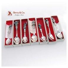 Christmas Spoons Christmas Carol Set of 7 Reed and Barton Silverplate 1984, 1985, 1986, 1987