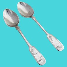 Art Nouveau Foliate Engraved Teaspoons Pair Russian 84 Standard Silver 1900