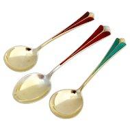 Enameled Gilt Dessert Spoons Teaspoon Set David Andersen Sterling Silver 1960