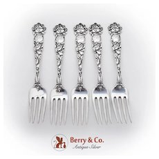 Bridal Rose Dinner Forks Set Alvin Sterling Silver Pat 1903