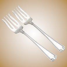 Etruscan Salad Forks Pair Diamond Slot Gorham Sterling Silver Pat 1913