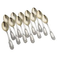 Ornate Baroque Coronado Demitasse Spoons Set Gilt Bowls Watson Sterling