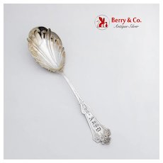 Early Aesthetic Engraved Berry Spoon Scalloped Bowl Albert Coles Coin Silver