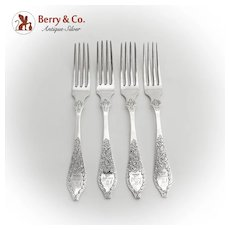 Antique Floral Forks Set Engraved Crest S Kirk And Son Coin Silver 1880