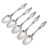 Lily Coffee Spoons Set Whiting Mfg Co Sterling Silver Pat 1902 Monogram