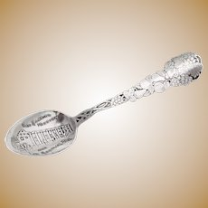 Acid Etched Grape Vine Souvenir Spoon Embossed Bowl Paye Baker Sterling Silver