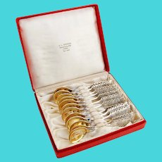 Swedish Sami Spoons Set Engraved Reindeer Gilt Bowls Figural Handles 830 Silver